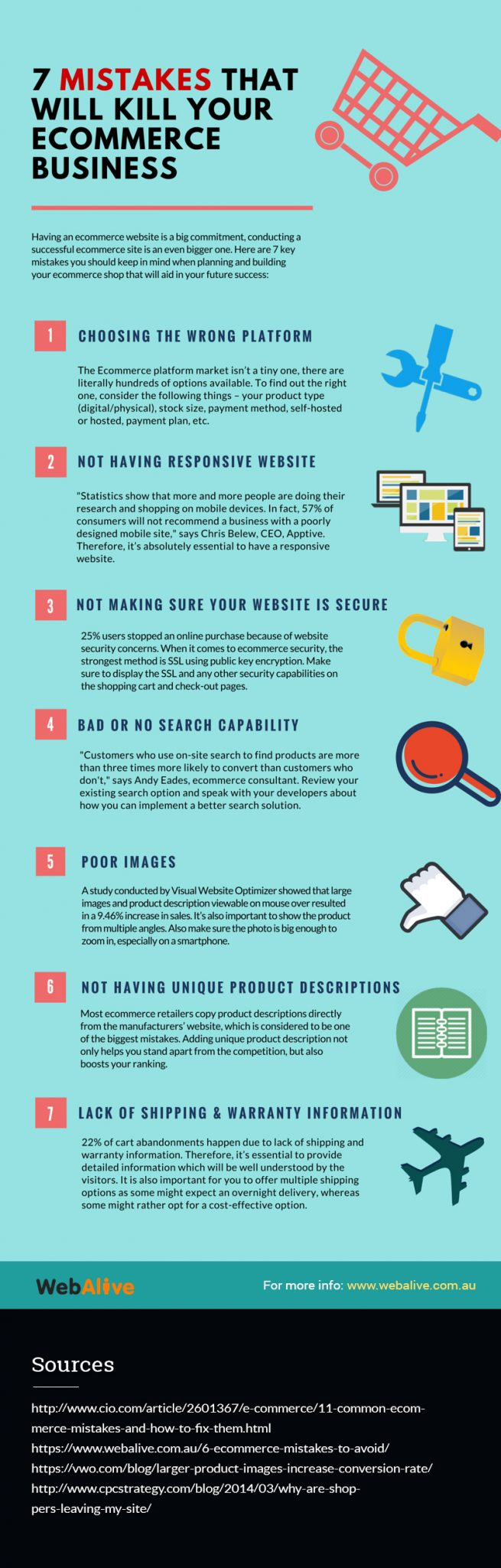 7 ecommerce mistakes infographic
