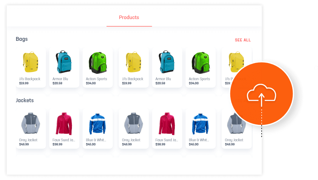 Uploaded bags and jackets products on a DIY website
