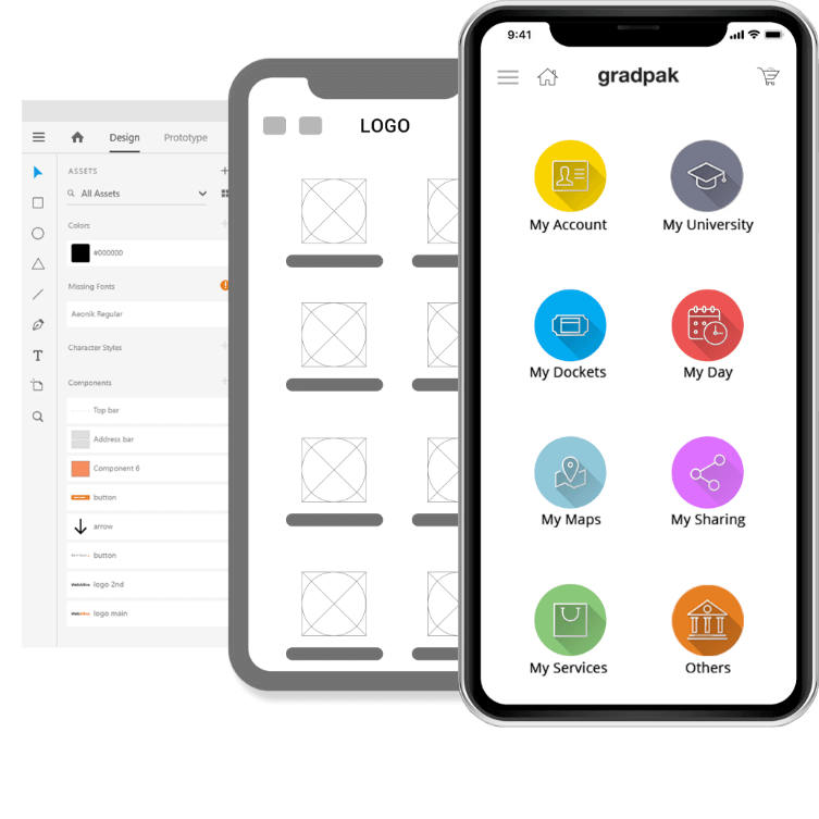 Design process images of a successful mobile app